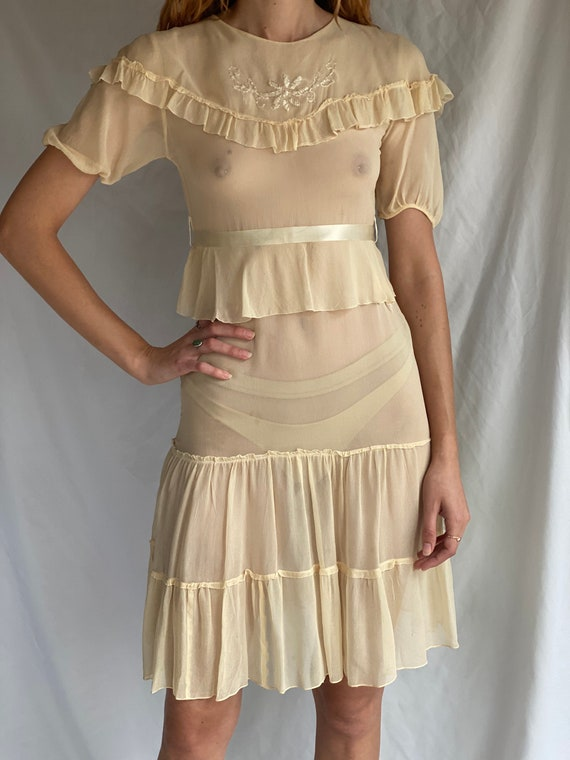 1930's Sheer Dress / Ethereal Garden Party Dress … - image 5