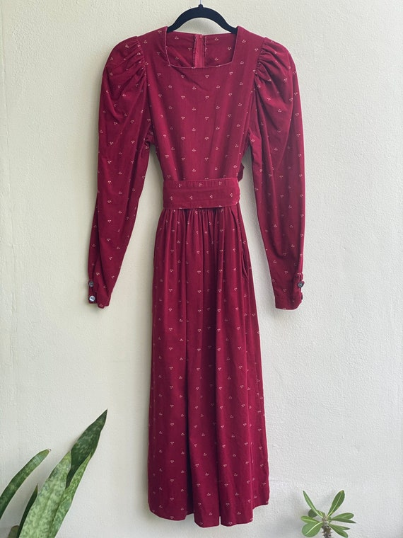 1990s Red Floral Corduroy Dress / Laura Ashley Dr… - image 5