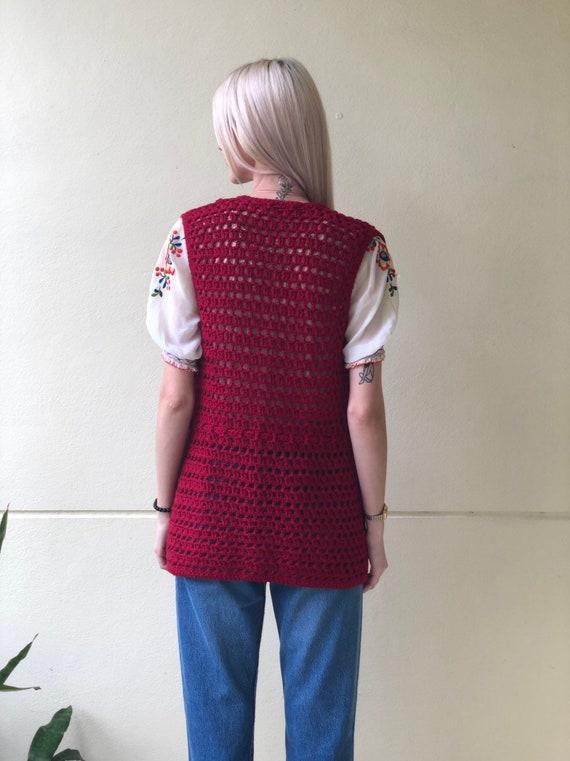 Vintage Sweater Vest / Open Knit 60s Crochet / Kn… - image 3