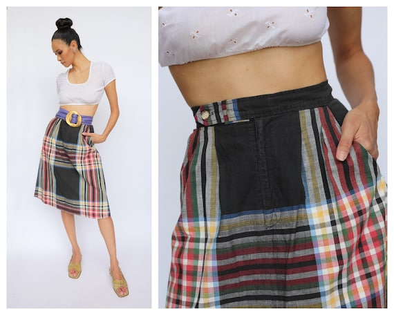 Vintage Ralph Lauren Midi Skirt / Plaid Summer Mid