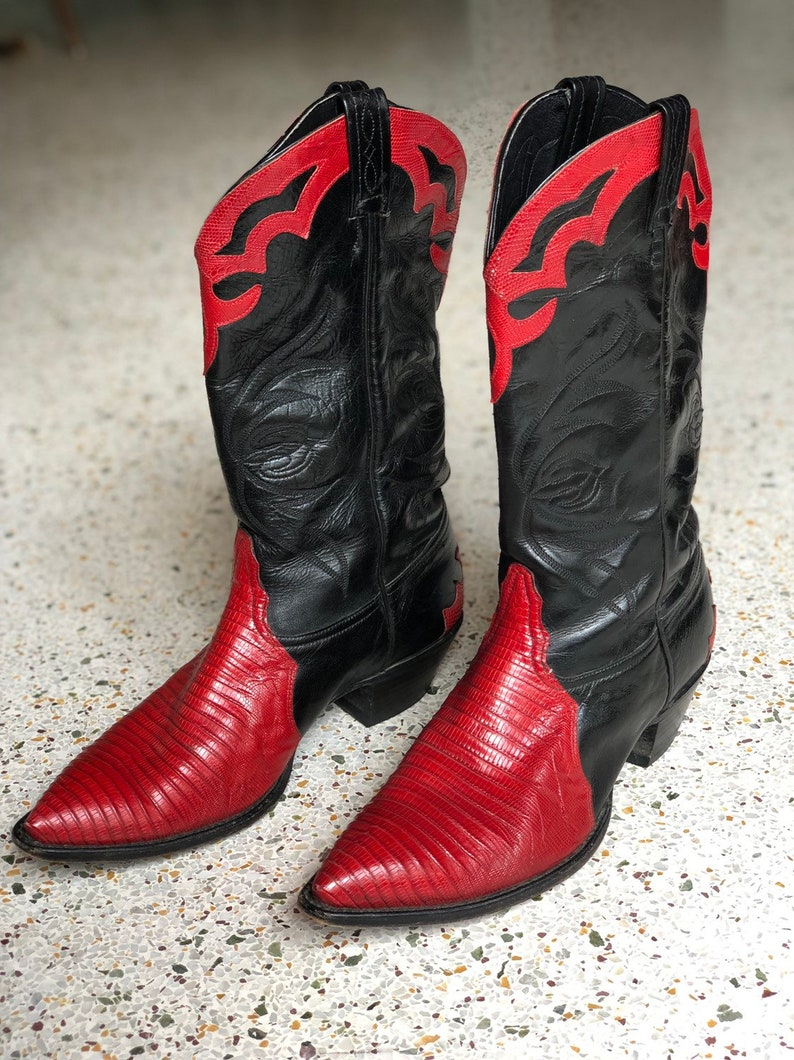 4881a5135fa 10 B / Vintage Cowboy Boots / Tony Lama Black Red Leather Boots / Stacked  Heels Boots / Nashville Boots / Stagewear