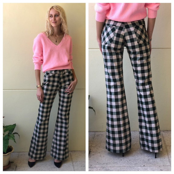 1970's Plaid Bell Bottoms / Trouser Pants / Unisex