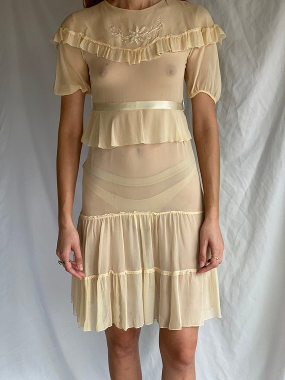 1930's Sheer Dress / Ethereal Garden Party Dress … - image 4