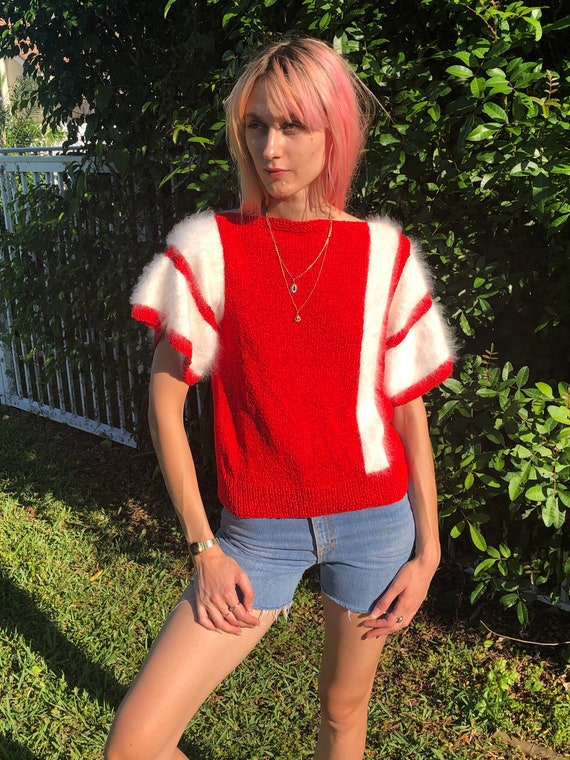 Vintage Rayon and Angora Sweater / Red and White P