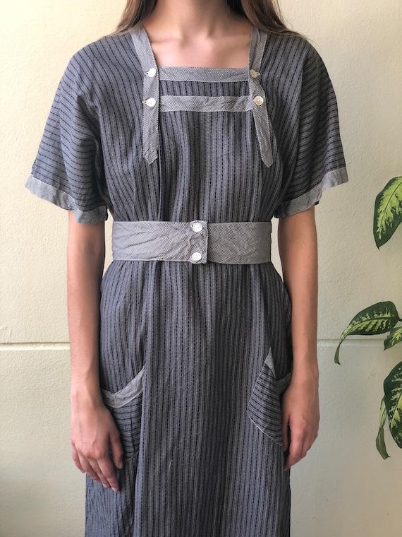 Antique Chore Dress / 1910's Cotton Workwear Tuni… - image 5