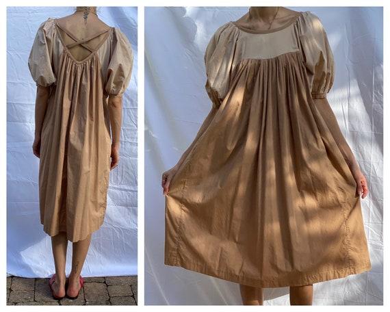 Vintage Puffed Sleeves Dress / Nap Dress / Balloon