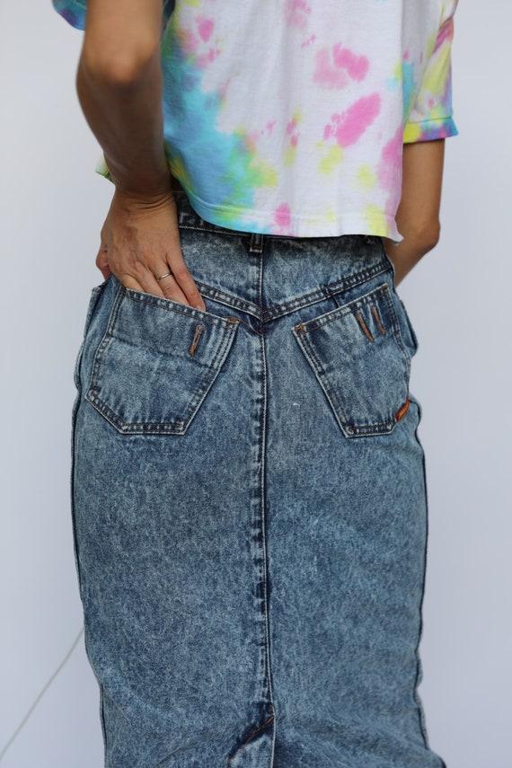 80s Acid Wash Denim Skirt / Jordache High Waisted… - image 4