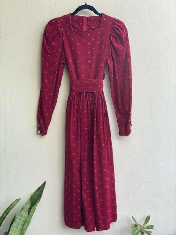 1990s Red Floral Corduroy Dress / Laura Ashley Dr… - image 3