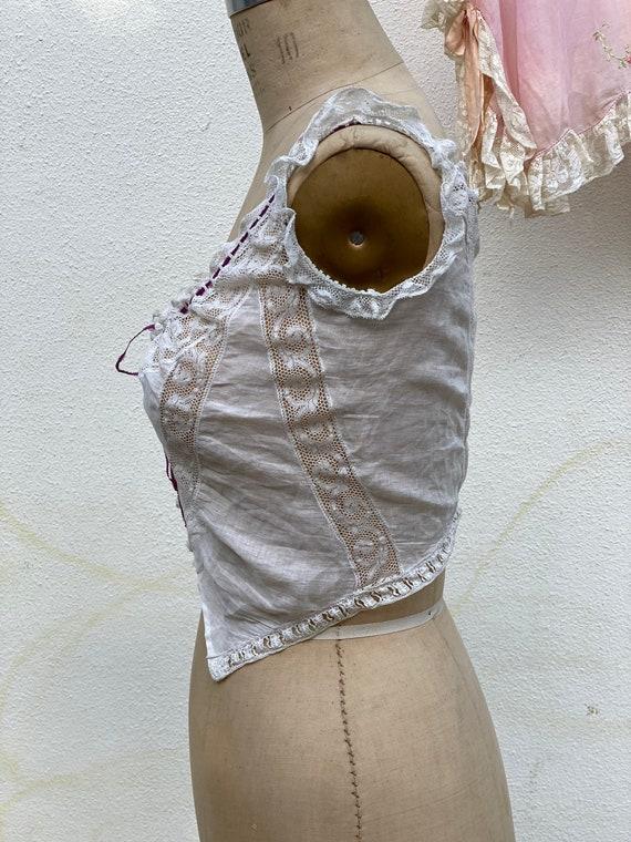 1910's Crochet Cropped Blouse / Antique Lace Pink… - image 5