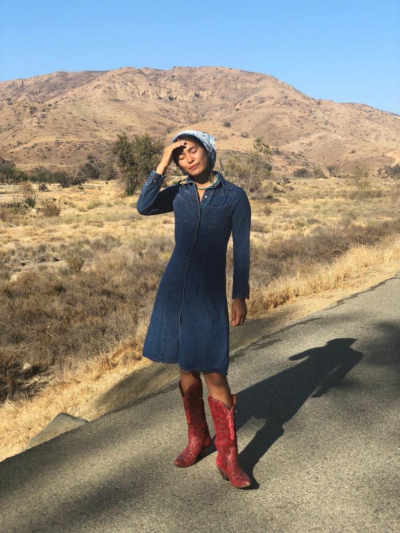 Vintage Denim Dress  1970/'s Dress  Dark Wash Denim  Autumnal Winter  Easy Dress  Casual Jean Dress  Size Small-Medium  Blue Jean Baby