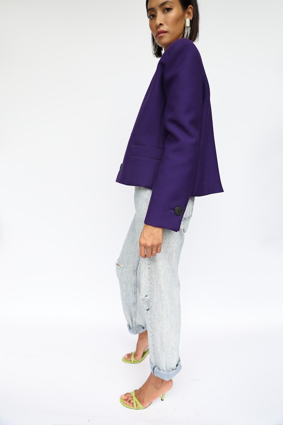 80's Boxy Blazer / Helga Designer Purple Wool Blen