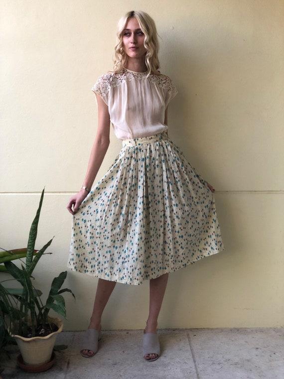 1950's Skirt / Novelty Vase Midi Skirt / Novelty P