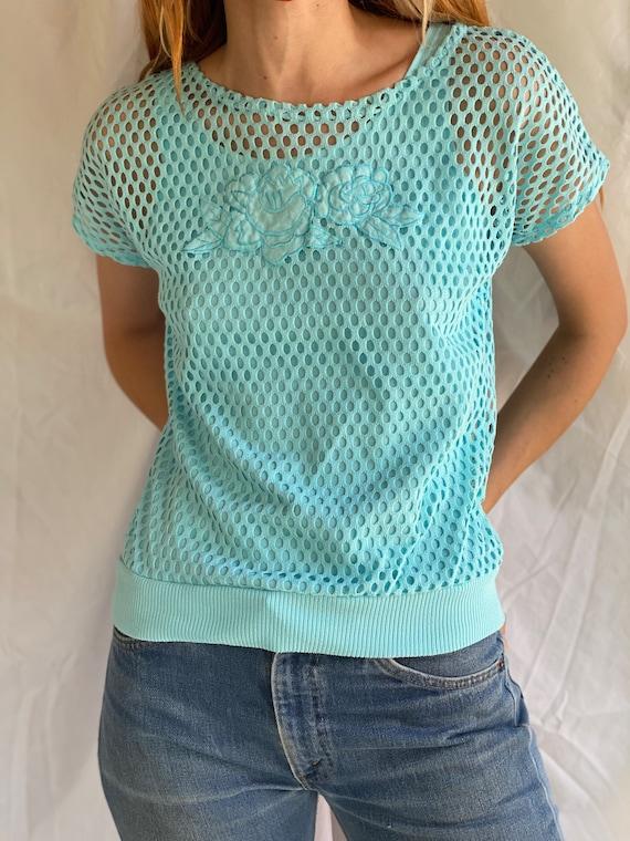 80's Mesh Shirt / Netted Sheer shirt / Mesh Summe… - image 2
