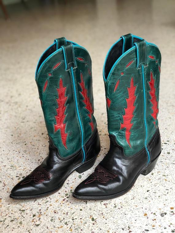 5 M / 1980's Cowboy Boots / Blue Black Red Teal Le