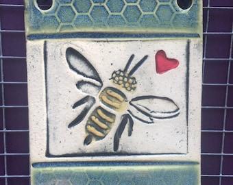 Bee Wall Art,Bee Art,Honeycomb Bee,Bee Love
