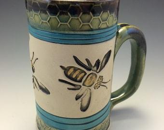 Mug,Handmade Mug,Bee Mug,Honeycomb Mug, Beekeeper Mug,Springtime Mug