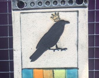 Queen Crow Tile,Queen Raven Tile,Crow Art,Raven Art,Clay Tile,Ceramic Tile