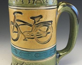 Mug,Handmade Mug,Bike Mug,Bicycle Sprocket,Bicycle Chain Mug,Stoneware Bike Mug,Tea Mug, Handmade Bike Mug,Cruiser Bike Mug