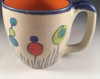 Mug,Handmade Mug,Polka Dot Mug,Modern Mug,Orange Mug,Flower Mug,Orange Mug with Flowers,Large Handled Mug