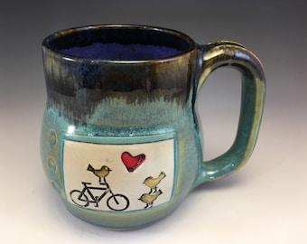 Mug,Handmade mug,Bike Mug, Bird mug, Mug, Birds on Bike Mug,Put a Bird On It, Heart Mug, Bird Bike Love Mug, Bird Heart mug