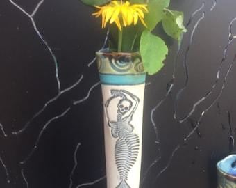 Vase,Wall Vase,Mermaid,Skeleton Mermaid Vase,Day of Dead Vase