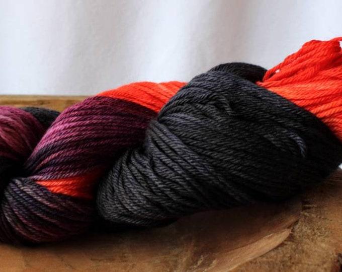 Orange, Purple, Dark Gray/Black Sock Yarn