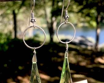green drop earrings...
