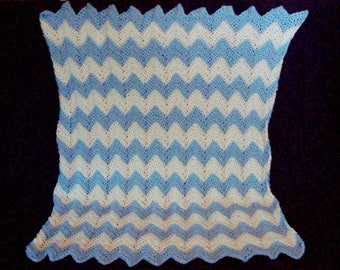 Crochet Baby Blanket, Chevron Design, Light Blue And White, Nursery Afghan