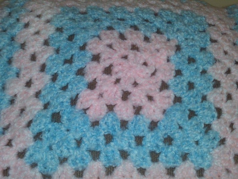 Fuzzy Baby Doll Blanket Granny Square Made With Super Bulky image 0