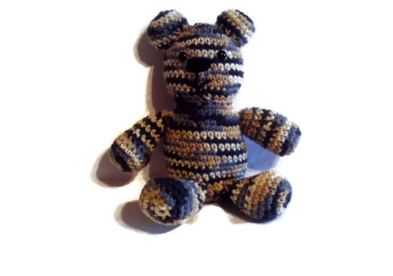 Teddy Bear Multi Colored Stripes Eight Inches Crochet Cub image 0