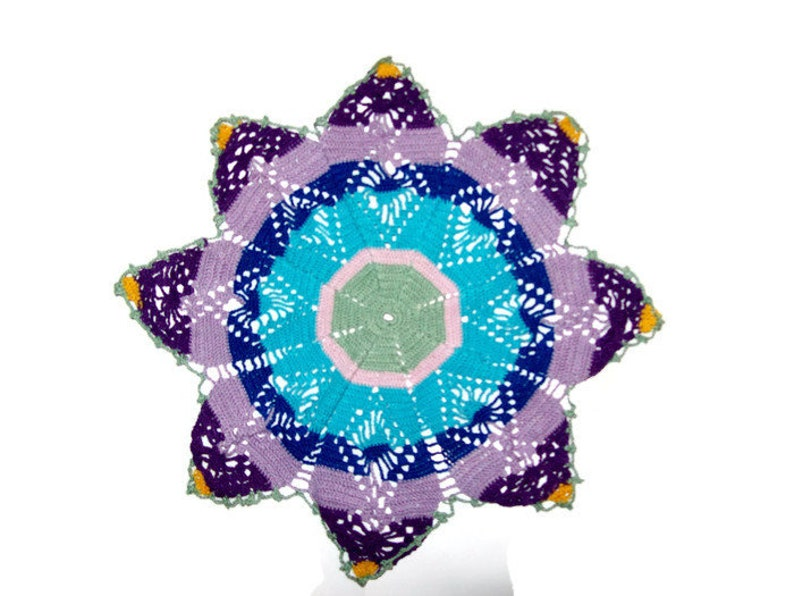 Star Doily Table Mat Eight Points Crochet Centerpiece Home image 0