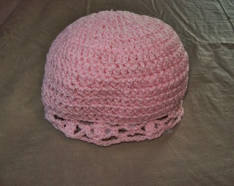 Crochet Baby Hat With Scalloped Edging, Pink Color Size 6-12 Months
