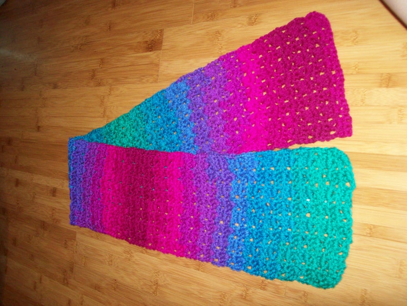 Short Multi Colored Scarf Blended Bright Colors Crochet Wrap image 0