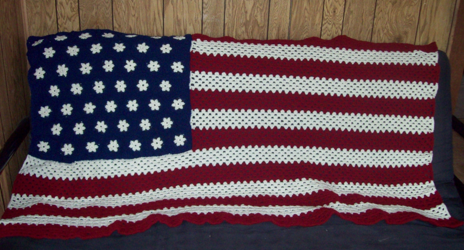 American Flag Afghan Stars And Stripes Made To Order Etsy