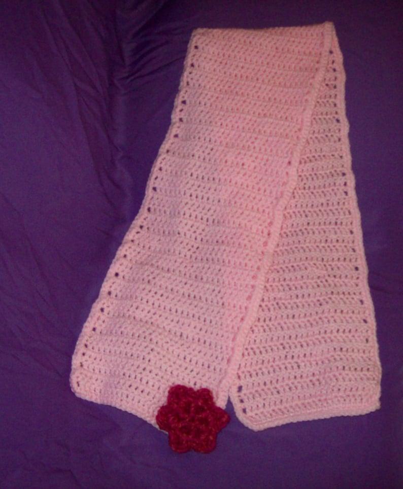 Crochet Light Pink Scarf Hot Pink Flower Applique image 0
