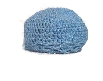Baby Hat With Scalloped Edging, Blue Color, Crochet Hat Size 6-12 Months