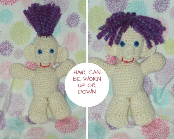 3e8741614356 Purple Hair Troll Doll Stuffed Toy Troll Crochet Amigurumi