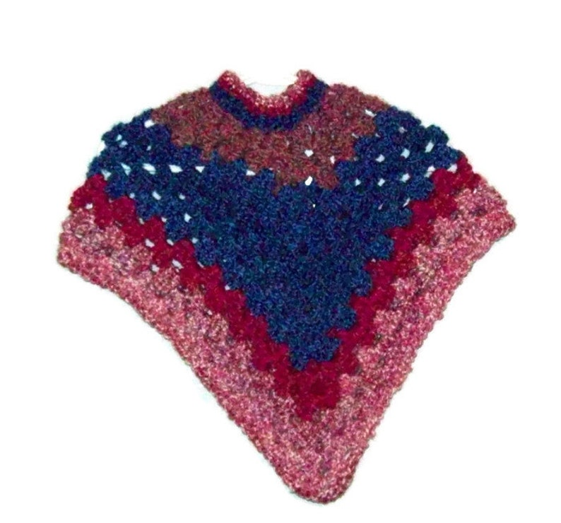 Girls Crochet Poncho  Size 2  To 3 Years Multi-colored Kids image 0