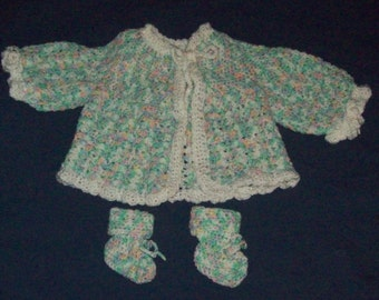 Baby Sweater Jacket And Booties, Size 3 to 9 Months, Gender Neutral, Baby Shower Gift Set