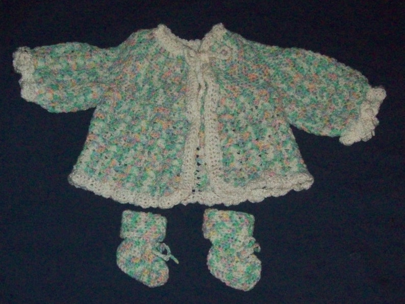Baby Sweater Jacket And Booties Size 3 to 9 Months Gender image 0