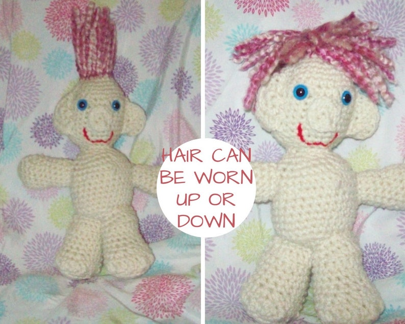 Crochet Troll Doll Pink And White Hair Stuffed Troll Doll image 0