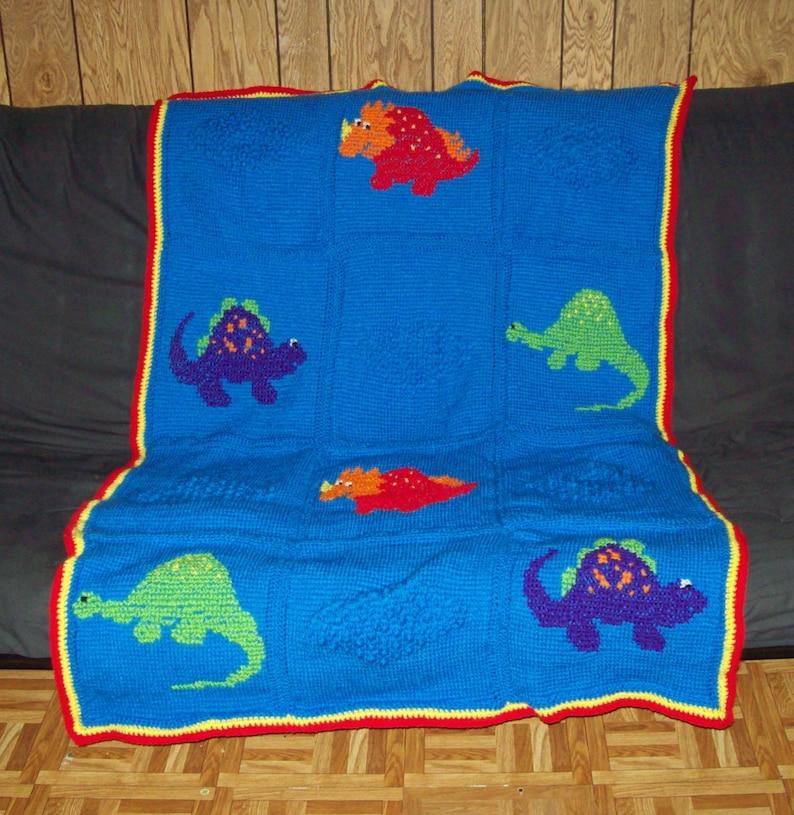 Dinosaur Cross Stitch Afghan Crochet Kids Blanket Fits Twin image 0