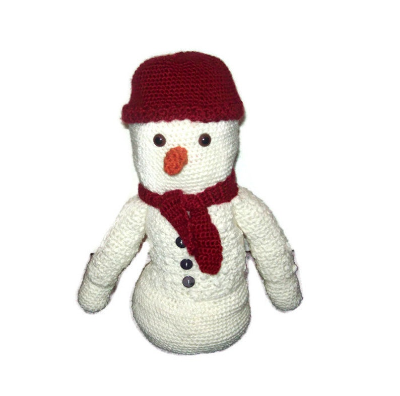 Stuffed Crochet Snowman Red Hat And Scarf Included 14 Inches image 0