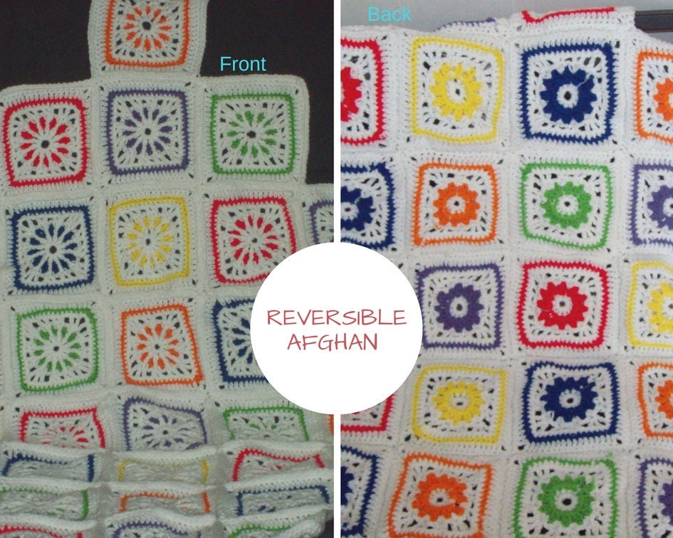 Geometrical Squares Reversible Afghan Stained Glass Window Etsy