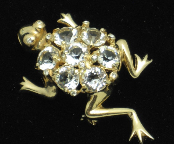 Vintage REJA Crystal Rhinestone Figural Frog Brooc
