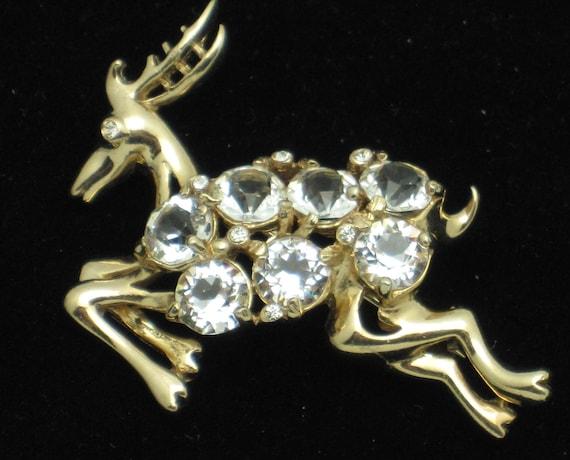 Vintage REJA Crystal Rhinestone Figural Deer Brooc