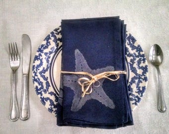 Cotton Hand Printed Napkins - Set of Four - Maritime Collection