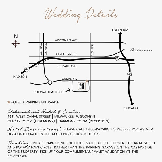 Custom Wedding Invitation Map Insert With Written Directions Etsy