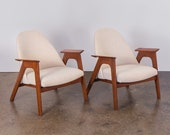 Spectacular Pair of Pearsall Style American Walnut Armchairs