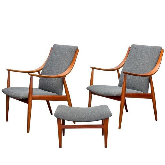 Tremendous Peter Hvidt Fd148 Teak Easy Lounge Chairs Ottoman Set Pabps2019 Chair Design Images Pabps2019Com